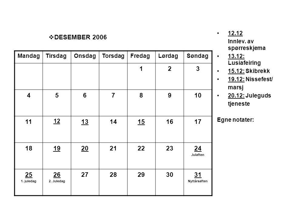  DESEMBER 2006 •12.12 Innlev. av spørreskjema •13.12: Lusiafeiring •15.12: Skibrekk •19.12: Nissefest/ marsj •20.12: Juleguds tjeneste Egne notater: