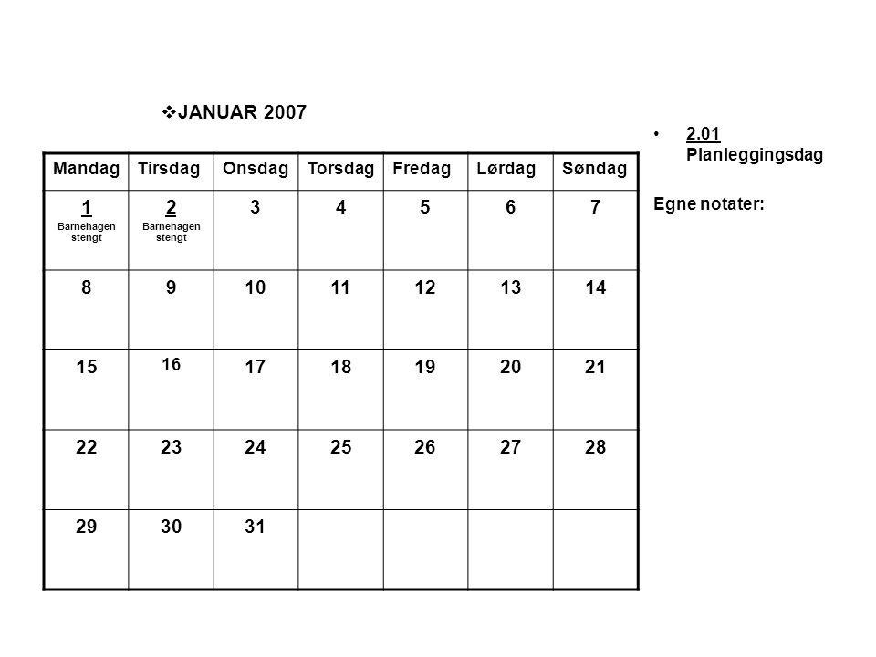  JANUAR 2007 •2.01 Planleggingsdag Egne notater: MandagTirsdagOnsdagTorsdagFredagLørdagSøndag 1 Barnehagen stengt 2 Barnehagen stengt 34567 891011121