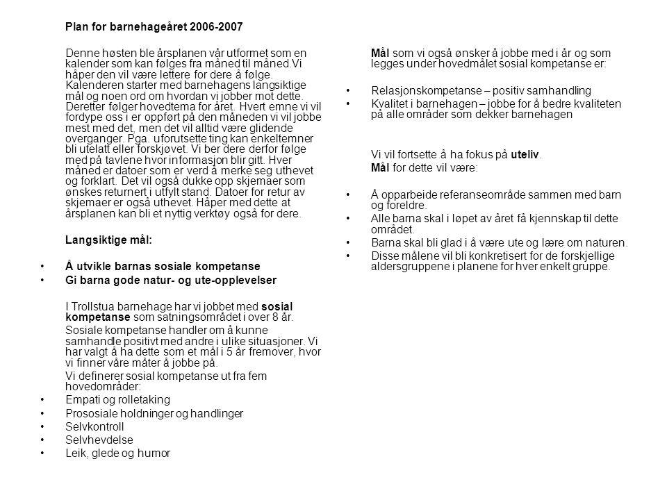 Plan for barnehageåret 2006-2007 Denne høsten ble årsplanen vår utformet som en kalender som kan følges fra måned til måned.Vi håper den vil være lett
