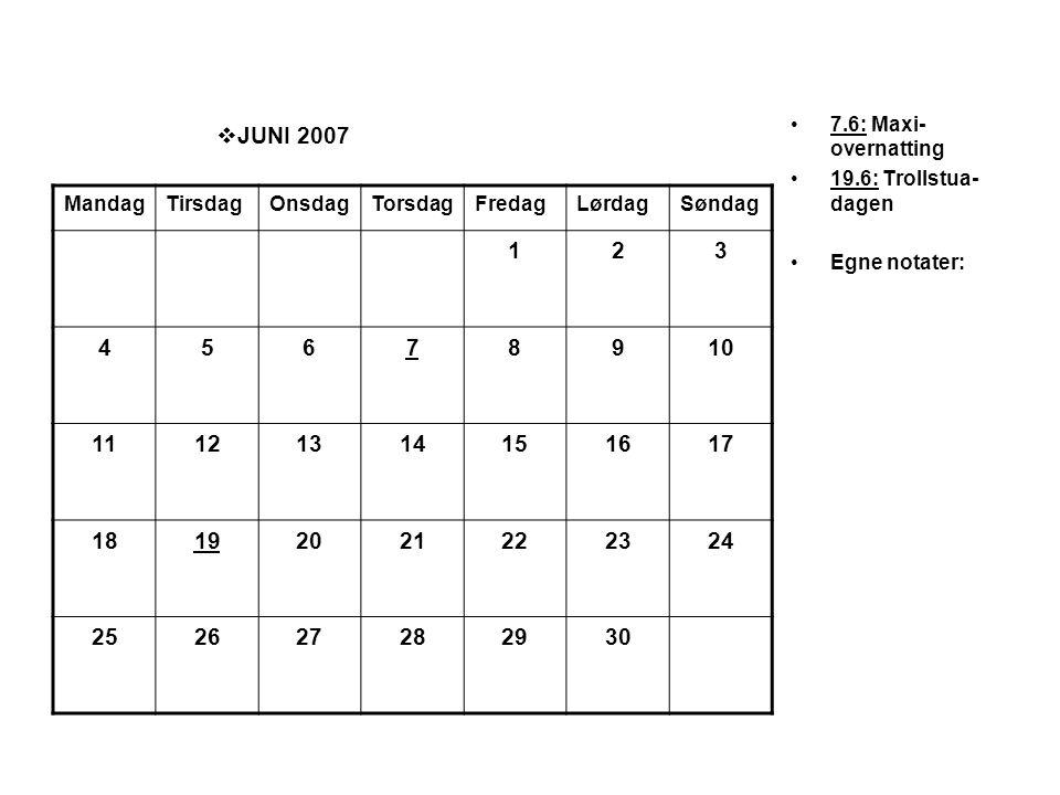  JUNI 2007 •7.6: Maxi- overnatting •19.6: Trollstua- dagen •Egne notater: MandagTirsdagOnsdagTorsdagFredagLørdagSøndag 123 45678910 11121314151617 18