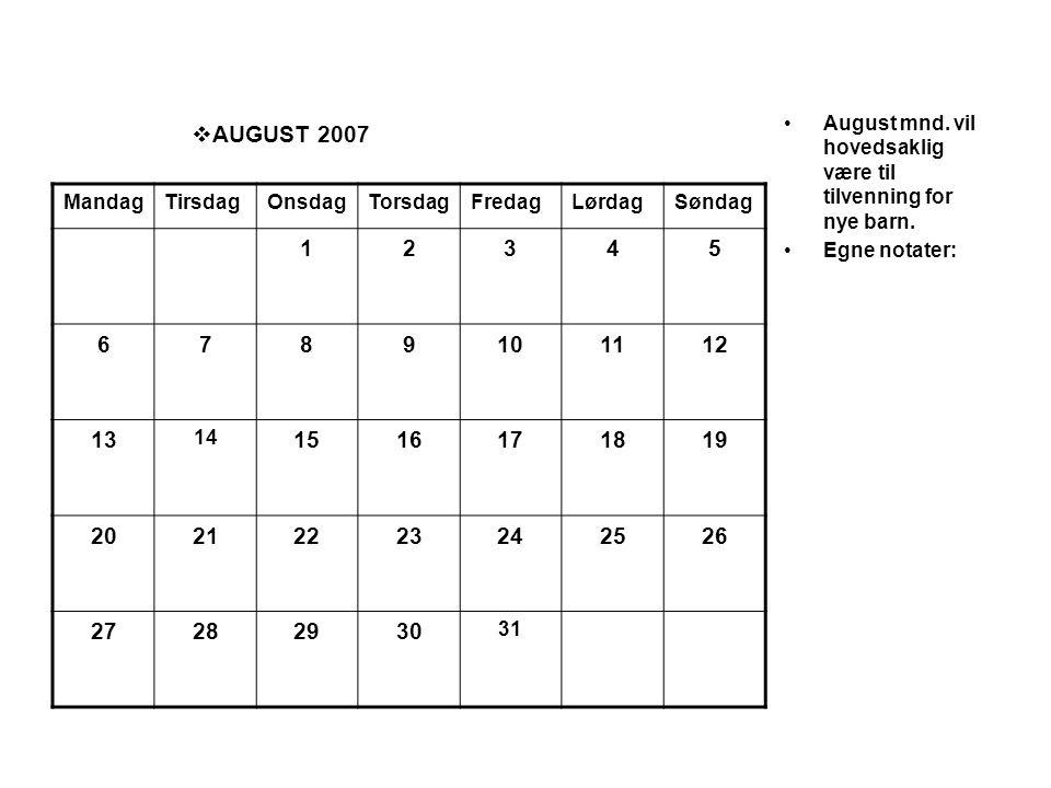  AUGUST 2007 •August mnd. vil hovedsaklig være til tilvenning for nye barn. •Egne notater: MandagTirsdagOnsdagTorsdagFredagLørdagSøndag 12345 6789101
