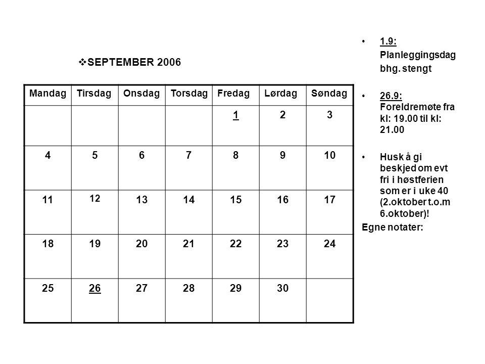  SEPTEMBER 2006 •1.9: Planleggingsdag bhg. stengt •26.9: Foreldremøte fra kl: 19.00 til kl: 21.00 •Husk å gi beskjed om evt fri i høstferien som er i