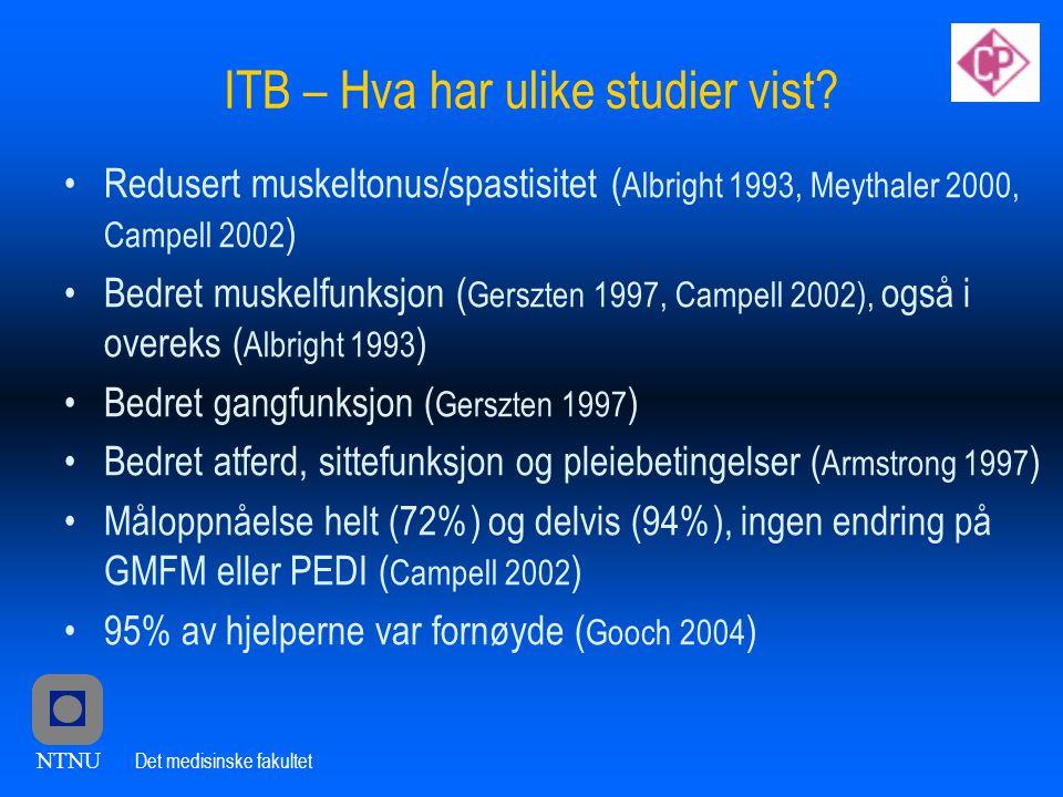 NTNU Det medisinske fakultet ITB – Hva har ulike studier vist.