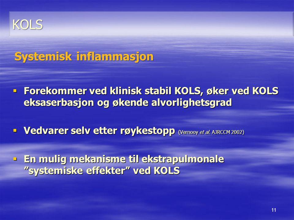  Forekommer ved klinisk stabil KOLS, øker ved KOLS eksaserbasjon og økende alvorlighetsgrad  Vedvarer selv etter røykestopp (Vernooy et al. AJRCCM 2