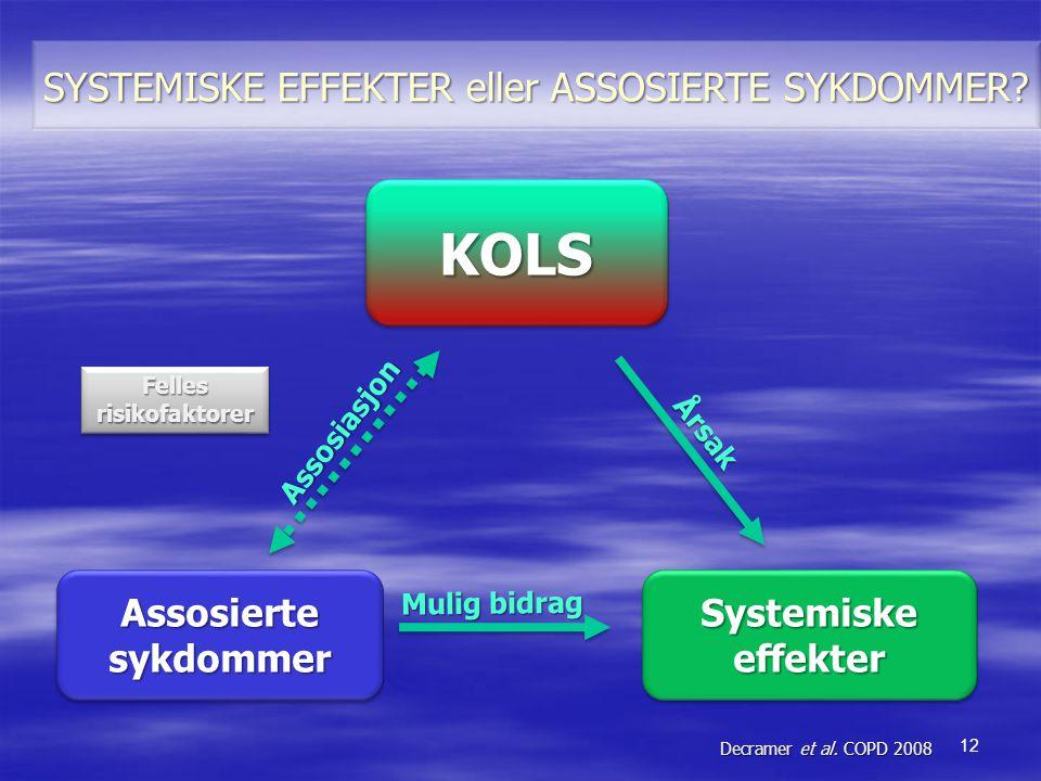 AssosiertesykdommerAssosiertesykdommer Årsak Mulig bidrag Decramer et al. COPD 2008 FellesrisikofaktorerFellesrisikofaktorer 12 SYSTEMISKE EFFEKTER el