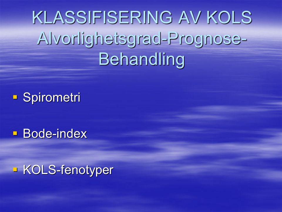 KLASSIFISERING AV KOLS Alvorlighetsgrad-Prognose- Behandling  Spirometri  Bode-index  KOLS-fenotyper