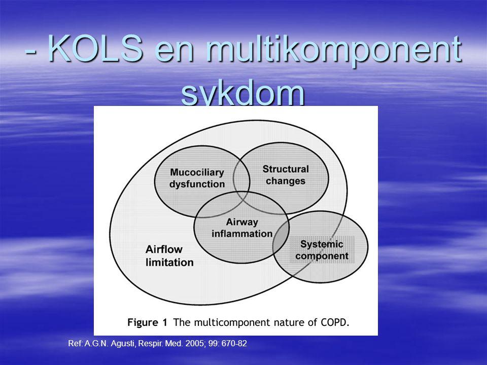 - KOLS en multikomponent sykdom Ref: A.G.N. Agusti, Respir. Med. 2005; 99: 670-82
