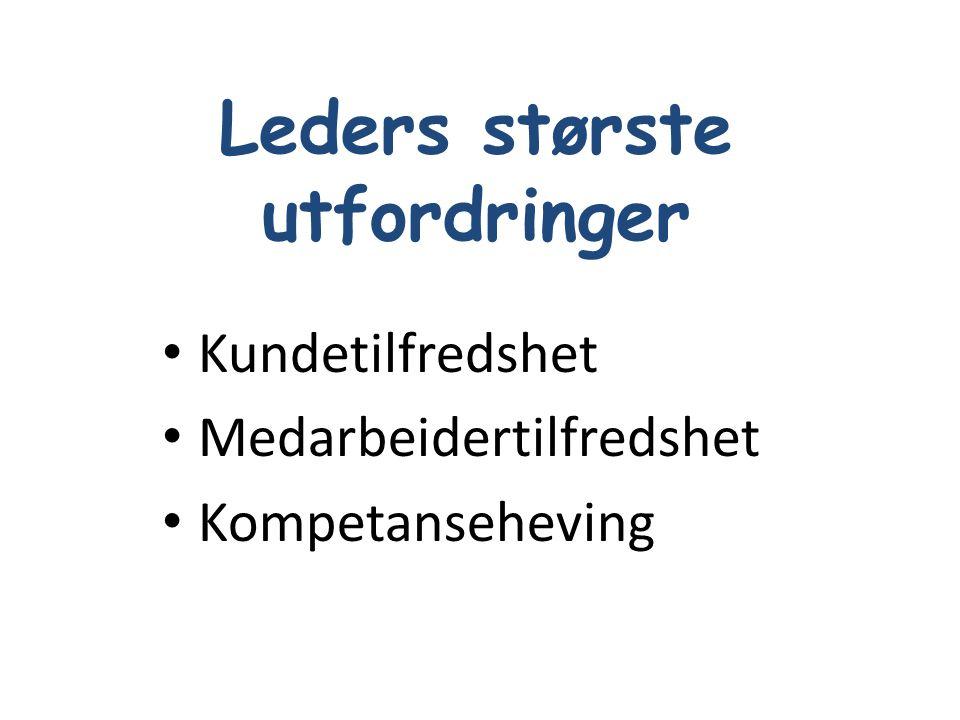 Leders største utfordringer •prioritering •delegering •anvendelse av lederroller •bygge kompetanse •valg av medarbeidere •bygge lærende organisasjon SKAFFE RESULTATER