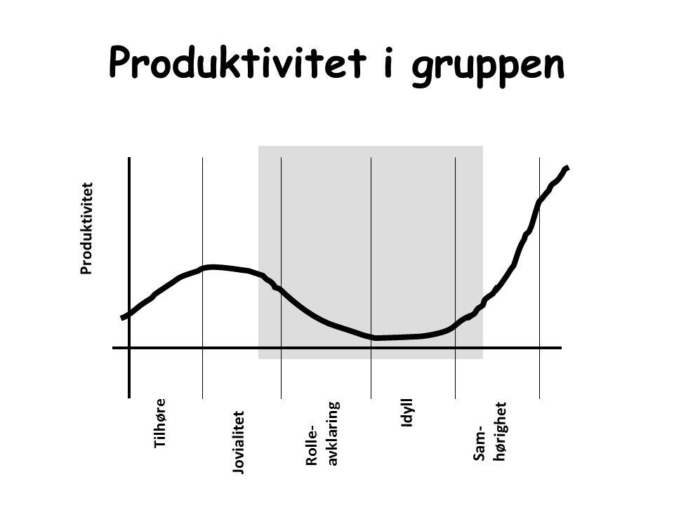 Produktivitet i gruppen Tilhøre Jovialitet Rolle- avklaring Idyll Sam- hørighet Produktivitet