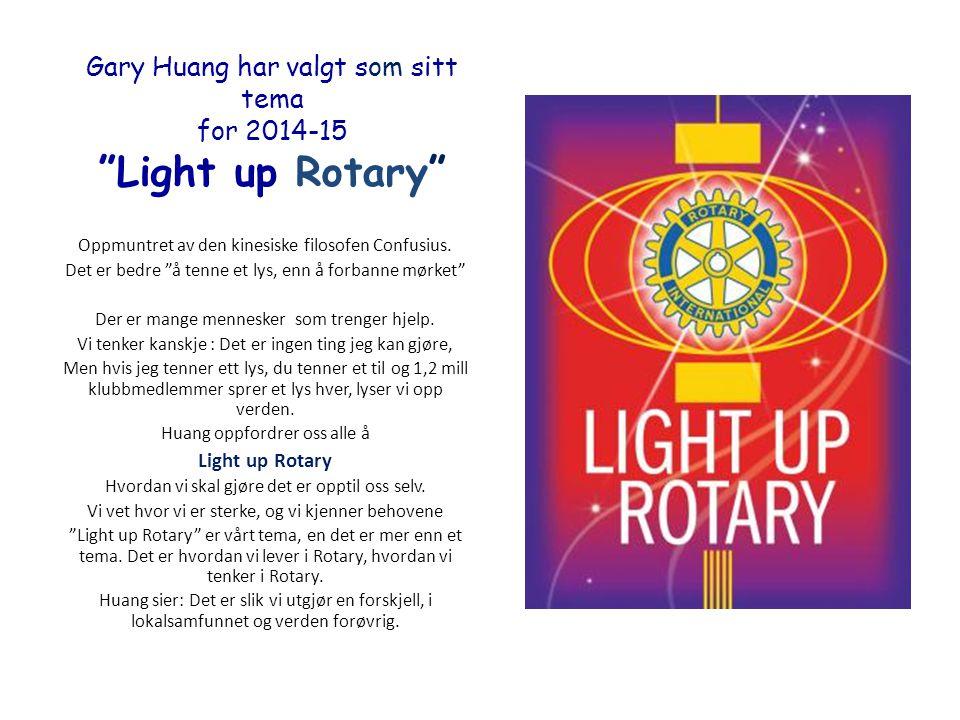 Gary Huang har valgt som sitt tema for 2014-15 Light up Rotary Oppmuntret av den kinesiske filosofen Confusius.