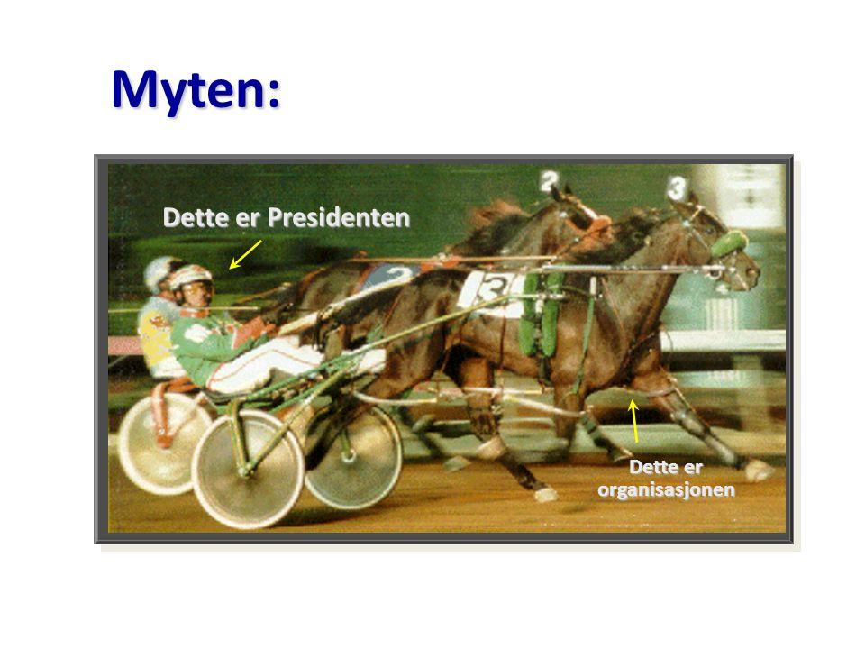 k k Dette er organisasjonen Dette er Presidenten Myten: Myten: