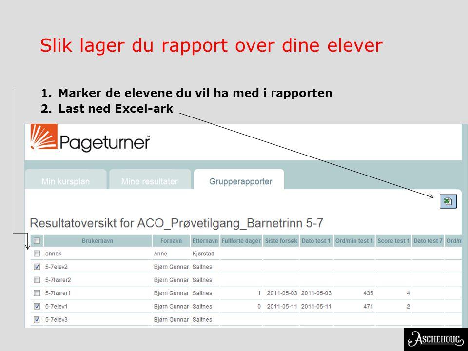 Slik lager du rapport over dine elever 1.Marker de elevene du vil ha med i rapporten 2.Last ned Excel-ark