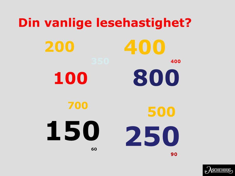 Din vanlige lesehastighet? 200 350 100 700 150 60 400 800 500 250 90