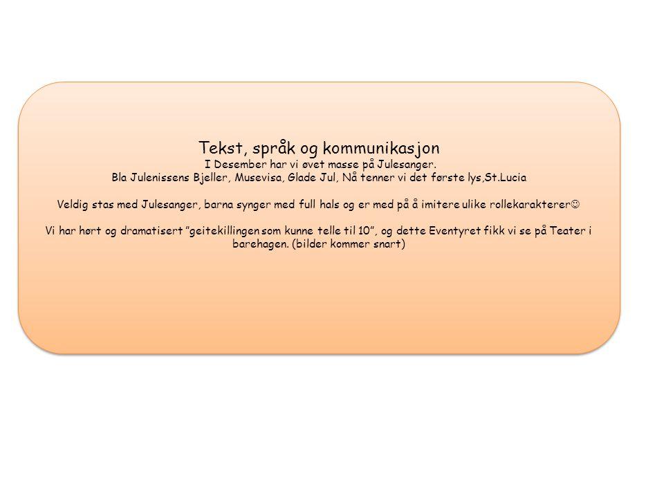 Tekst, språk og kommunikasjon I Desember har vi øvet masse på Julesanger.