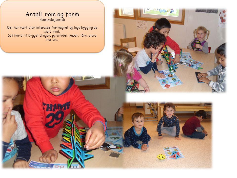 Antall, rom og form Konstruksjonslek Det har vært stor interesse for magnet og lego bygging de siste mnd.