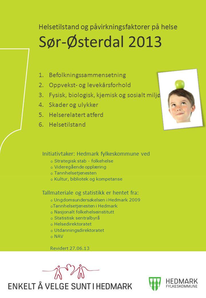 1.Befolkningssammensetning 2.Oppvekst- og levekårsforhold 3.Fysisk, biologisk, kjemisk og sosialt miljø 4.Skader og ulykker 5.Helserelatert atferd 6.Helsetilstand Helsetilstand og påvirkningsfaktorer på helse Sør-Østerdal 2013 Initiativtaker: Hedmark fylkeskommune ved o Strategisk stab - folkehelse o Videregående opplæring o Tannhelsetjenesten o Kultur, bibliotek og kompetanse Tallmateriale og statistikk er hentet fra: o Ungdomsundersøkelsen i Hedmark 2009 o Tannhelsetjenesten i Hedmark o Nasjonalt folkehelseinstitutt o Statistisk sentralbyrå o Helsedirektoratet o Utdanningsdirektoratet o NAV Revidert 27.06.13