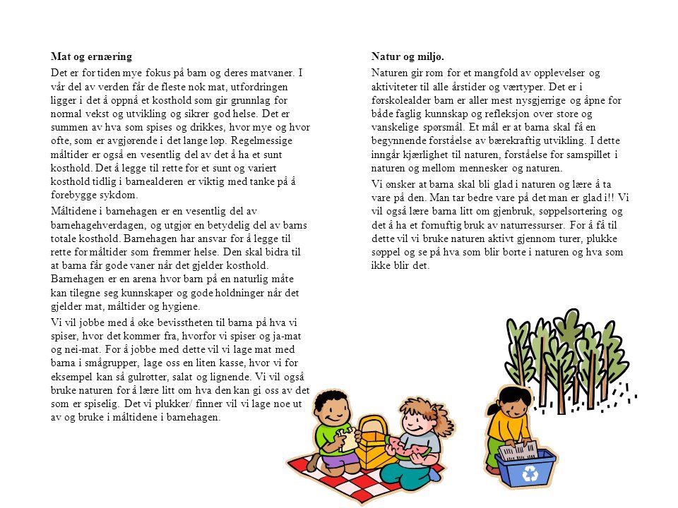 Mat og ernæring Det er for tiden mye fokus på barn og deres matvaner.