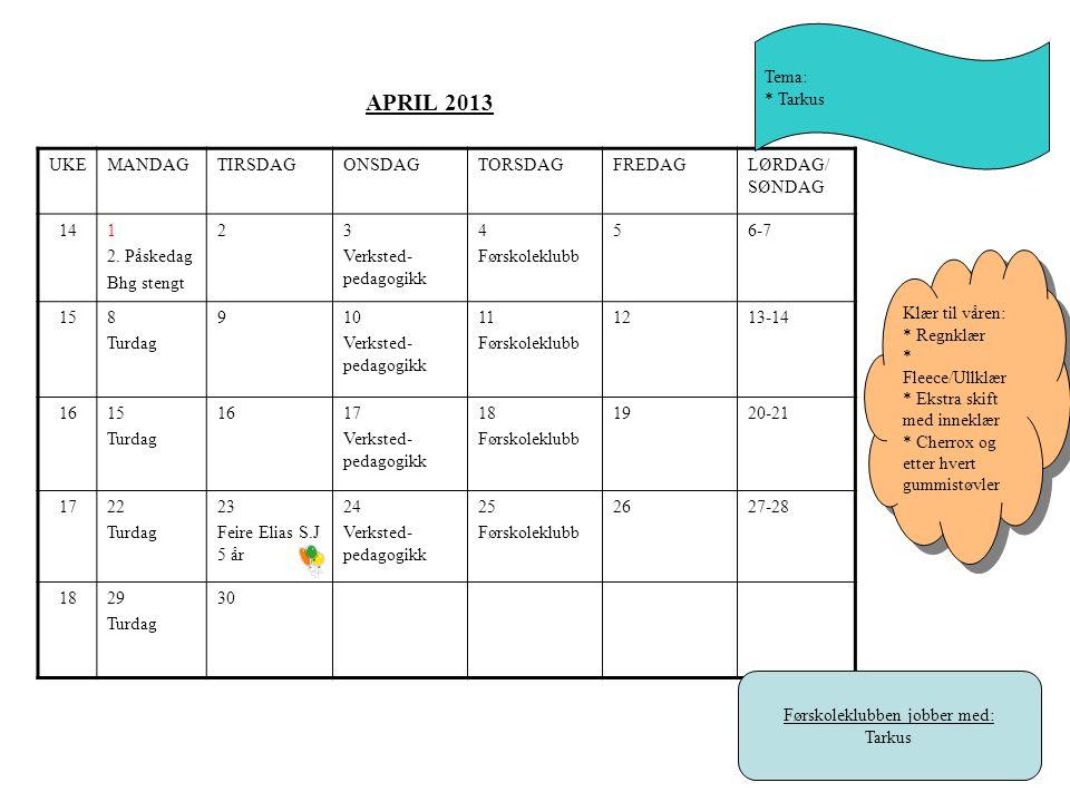 APRIL 2013 UKEMANDAGTIRSDAGONSDAGTORSDAGFREDAGLØRDAG/ SØNDAG 141 2.
