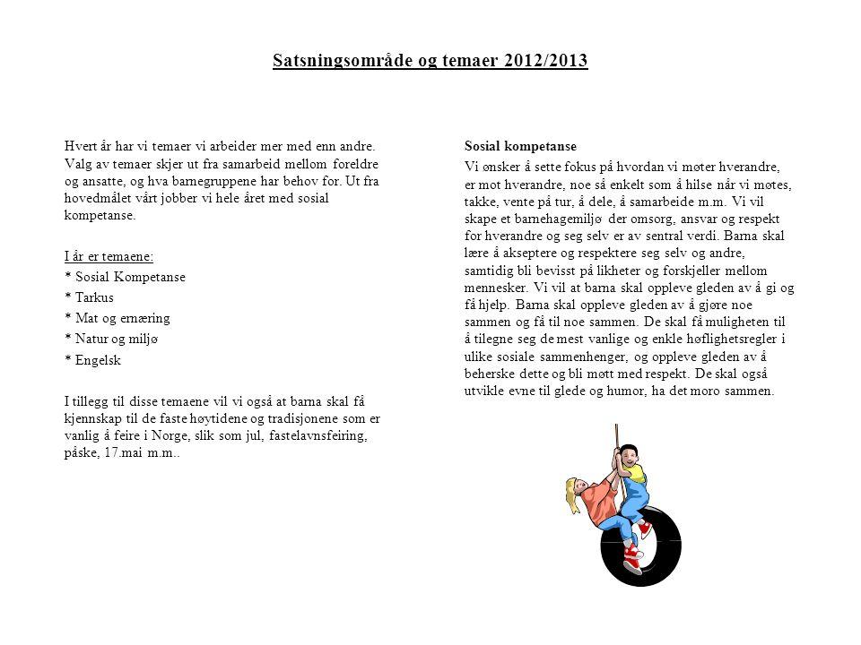 Satsningsområde og temaer 2012/2013 Hvert år har vi temaer vi arbeider mer med enn andre.
