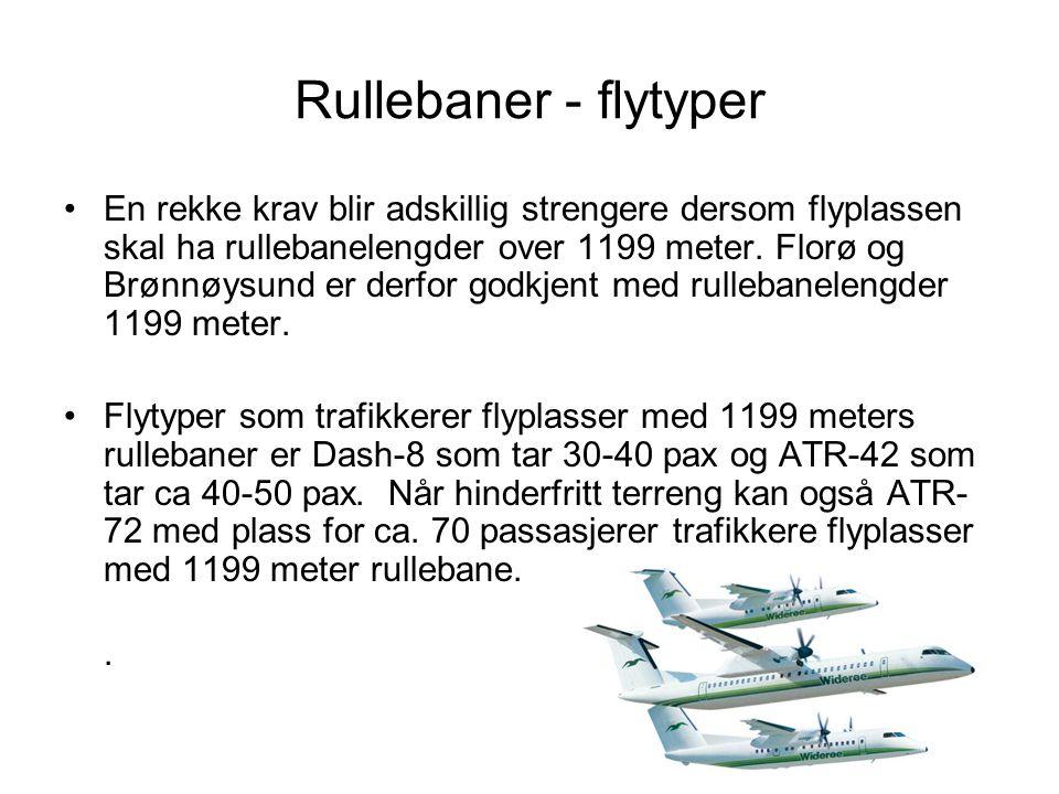 Rullebaner - flytyper •En rekke krav blir adskillig strengere dersom flyplassen skal ha rullebanelengder over 1199 meter. Florø og Brønnøysund er derf