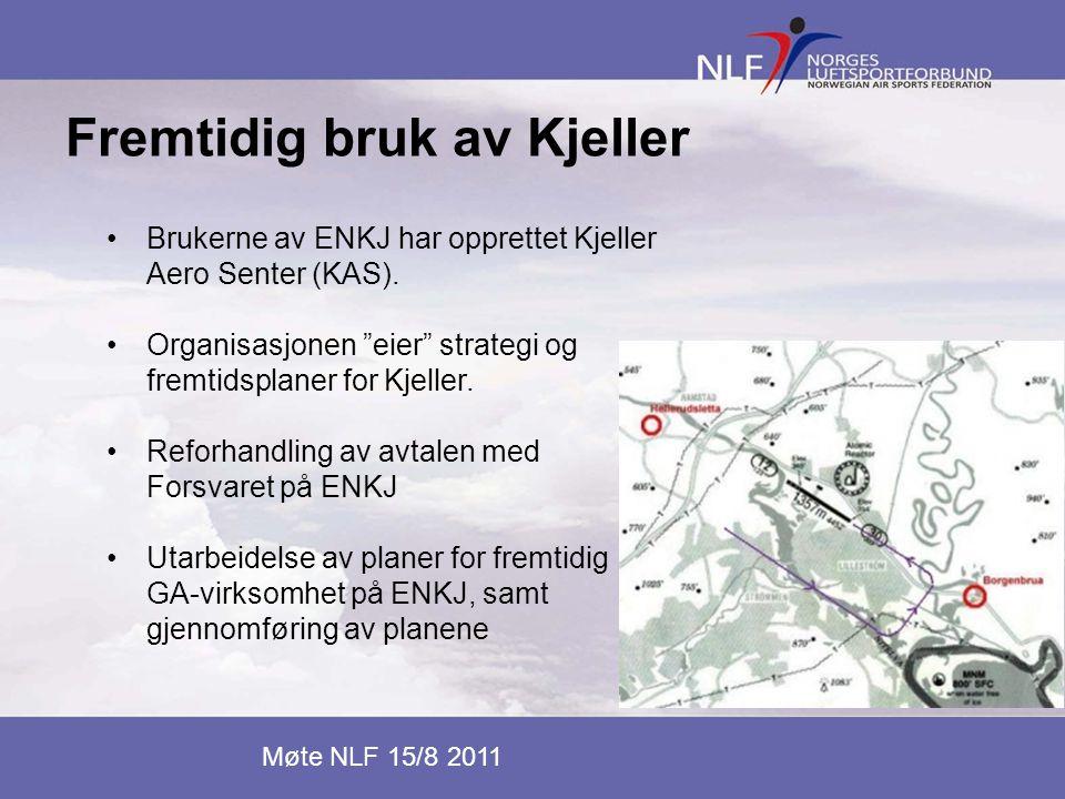 """Fremtidig bruk av Kjeller Møte NLF 15/8 2011 •Brukerne av ENKJ har opprettet Kjeller Aero Senter (KAS). •Organisasjonen """"eier"""" strategi og fremtidspla"""
