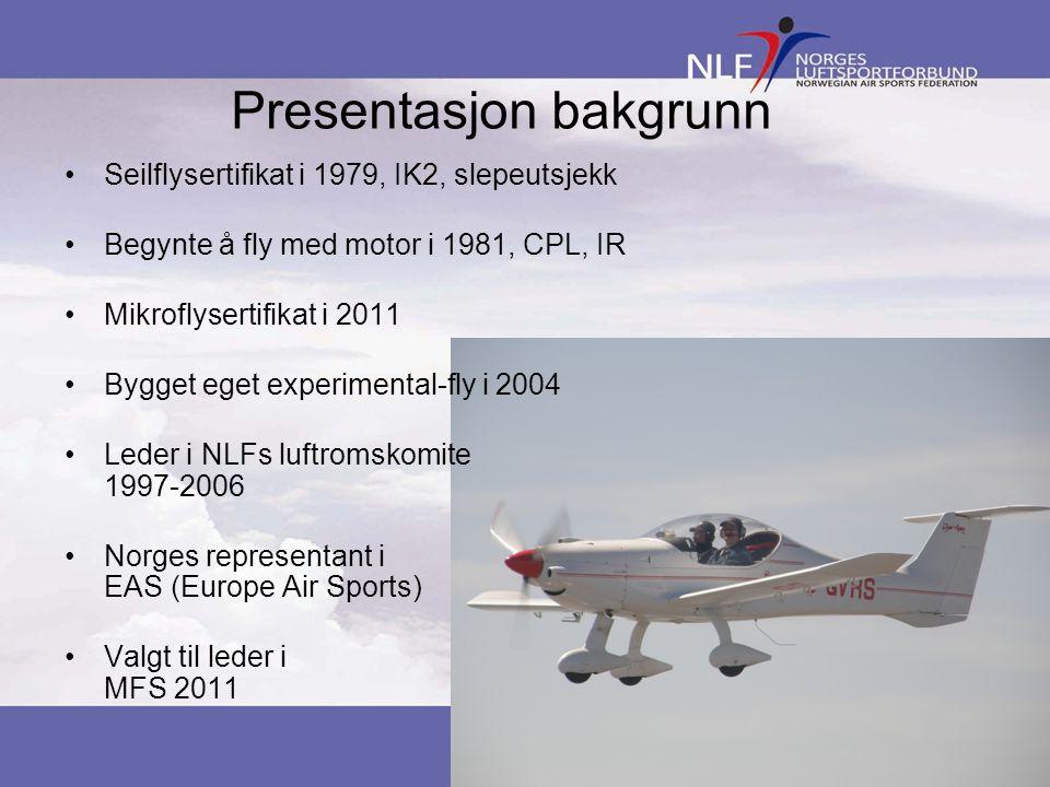 Presentasjon bakgrunn •Seilflysertifikat i 1979, IK2, slepeutsjekk •Begynte å fly med motor i 1981, CPL, IR •Mikroflysertifikat i 2011 •Bygget eget ex