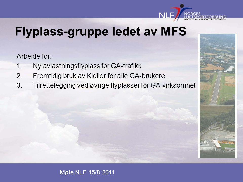 Flyplass-gruppe ledet av MFS Arbeide for: 1.Ny avlastningsflyplass for GA-trafikk 2.Fremtidig bruk av Kjeller for alle GA-brukere 3.Tilrettelegging ve
