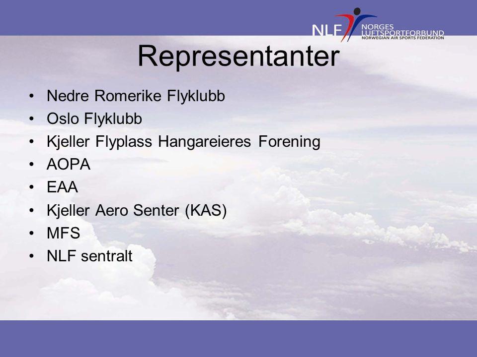 Representanter •Nedre Romerike Flyklubb •Oslo Flyklubb •Kjeller Flyplass Hangareieres Forening •AOPA •EAA •Kjeller Aero Senter (KAS) •MFS •NLF sentral