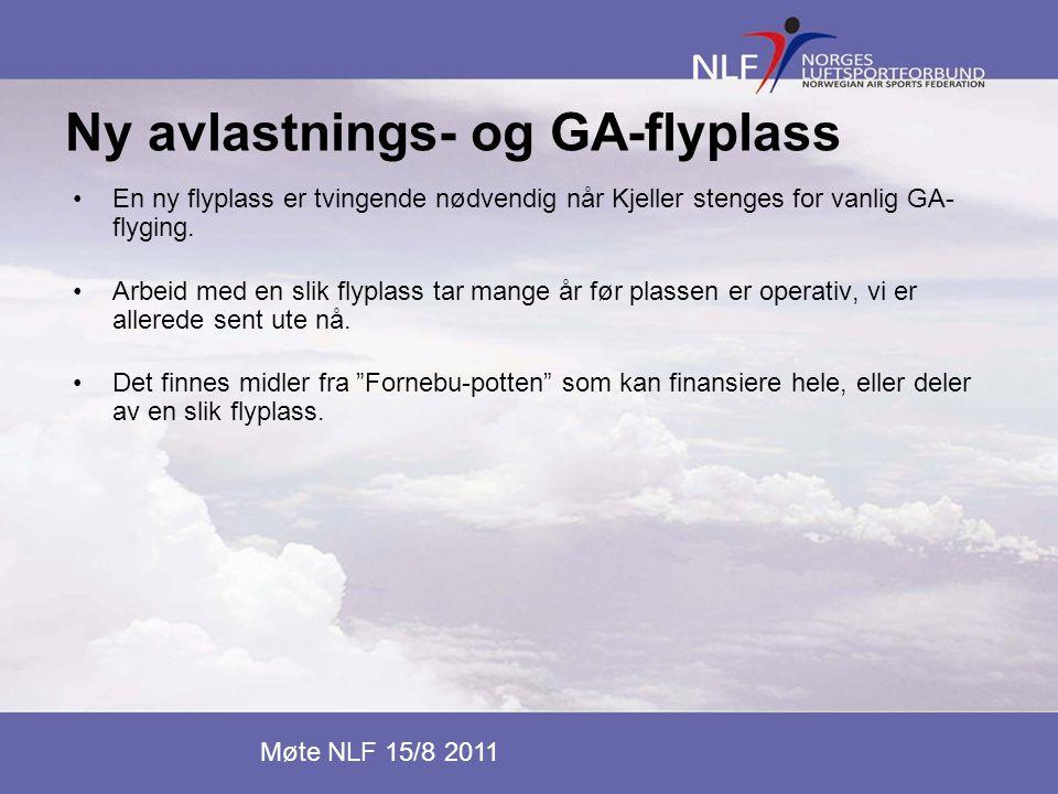 Ny avlastnings- og GA-flyplass •En ny flyplass er tvingende nødvendig når Kjeller stenges for vanlig GA- flyging. •Arbeid med en slik flyplass tar man