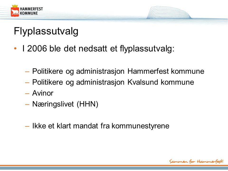 Flyplassutvalg •I 2006 ble det nedsatt et flyplassutvalg: –Politikere og administrasjon Hammerfest kommune –Politikere og administrasjon Kvalsund kommune –Avinor –Næringslivet (HHN) –Ikke et klart mandat fra kommunestyrene