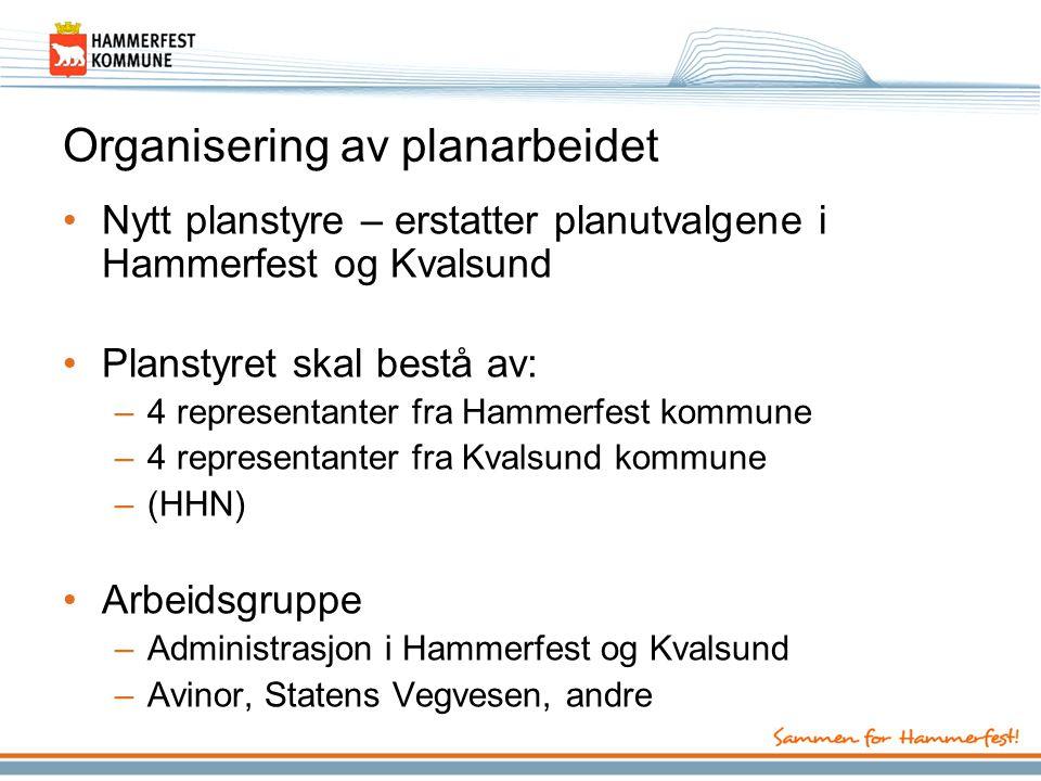 Organisering av planarbeidet •Nytt planstyre – erstatter planutvalgene i Hammerfest og Kvalsund •Planstyret skal bestå av: –4 representanter fra Hammerfest kommune –4 representanter fra Kvalsund kommune –(HHN) •Arbeidsgruppe –Administrasjon i Hammerfest og Kvalsund –Avinor, Statens Vegvesen, andre