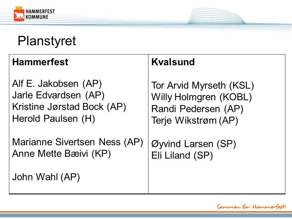 Planstyret Hammerfest Alf E. Jakobsen (AP) Jarle Edvardsen (AP) Kristine Jørstad Bock (AP) Herold Paulsen (H) Marianne Sivertsen Ness (AP) Anne Mette