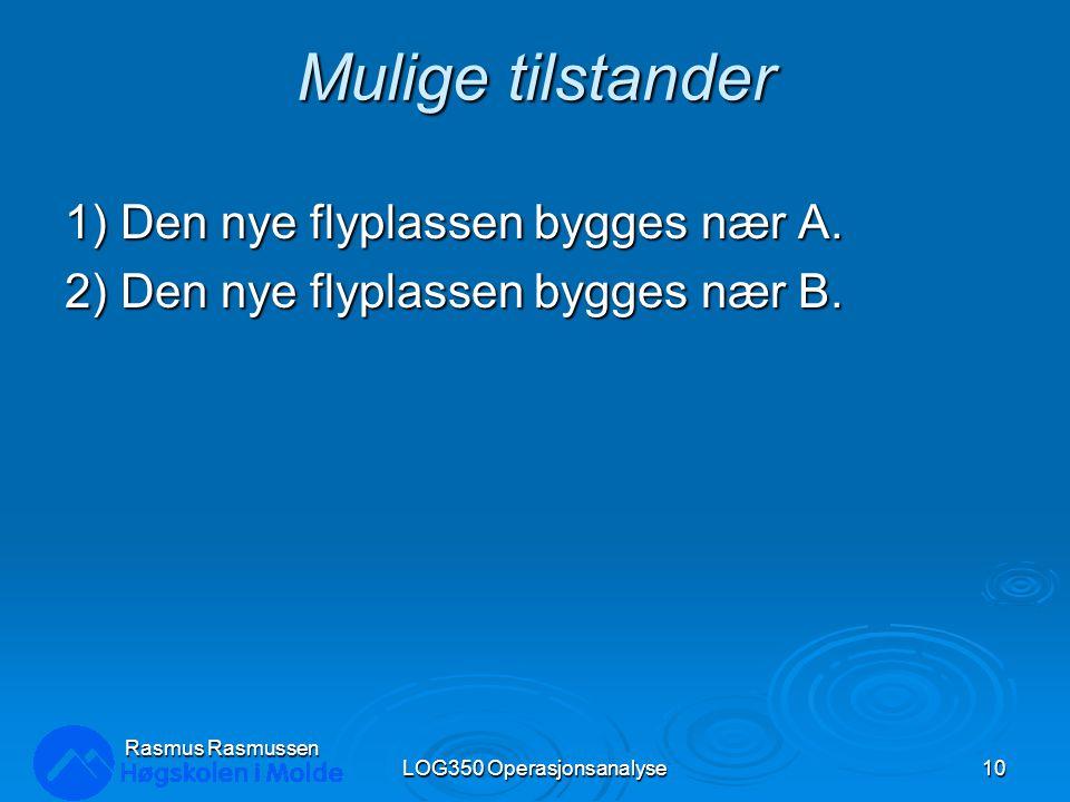 Mulige tilstander 1) Den nye flyplassen bygges nær A. 2) Den nye flyplassen bygges nær B. LOG350 Operasjonsanalyse10 Rasmus Rasmussen