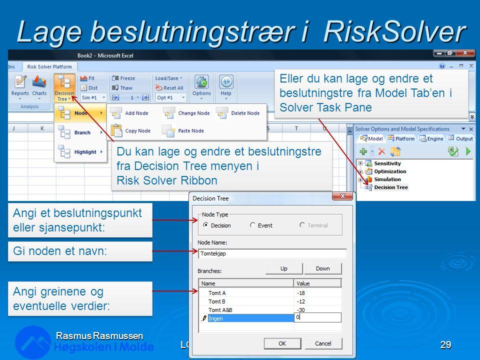 Lage beslutningstrær i RiskSolver LOG350 Operasjonsanalyse29 Rasmus Rasmussen Du kan lage og endre et beslutningstre fra Decision Tree menyen i Risk S