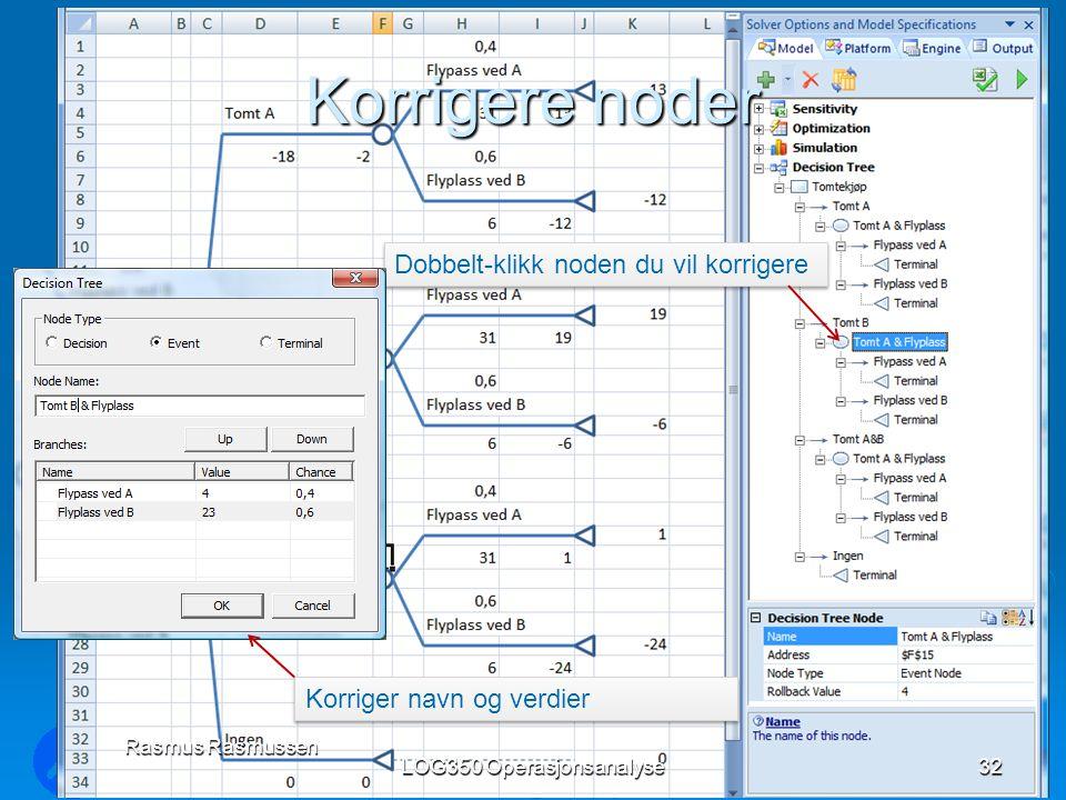 Korrigere noder LOG350 Operasjonsanalyse32 Rasmus Rasmussen Dobbelt-klikk noden du vil korrigere Korriger navn og verdier
