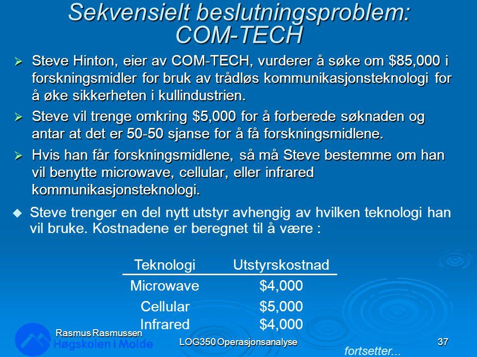 Sekvensielt beslutningsproblem: COM-TECH  Steve Hinton, eier av COM-TECH, vurderer å søke om $85,000 i forskningsmidler for bruk av trådløs kommunika