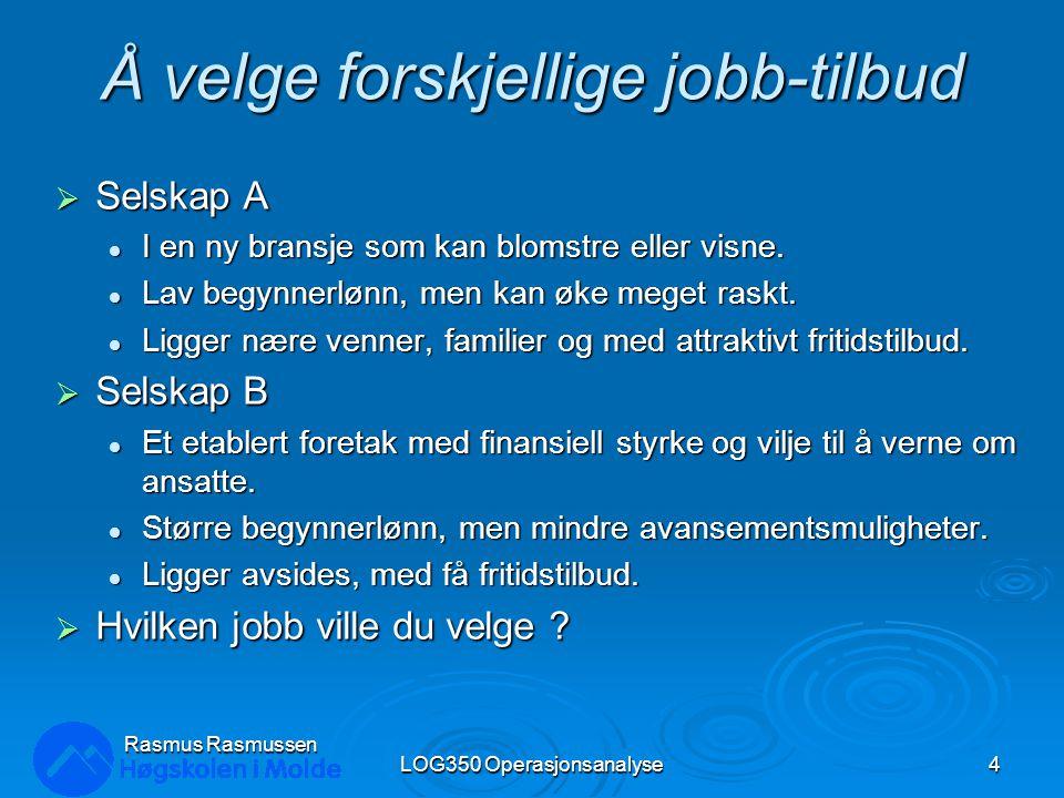 Vanlige nyttefunksjoner LOG350 Operasjonsanalyse55 Rasmus Rasmussen 0.00 0.25 0.50 0.75 1.00 Nytte Konsekvens risikoavers risikonøytral risikosøkende