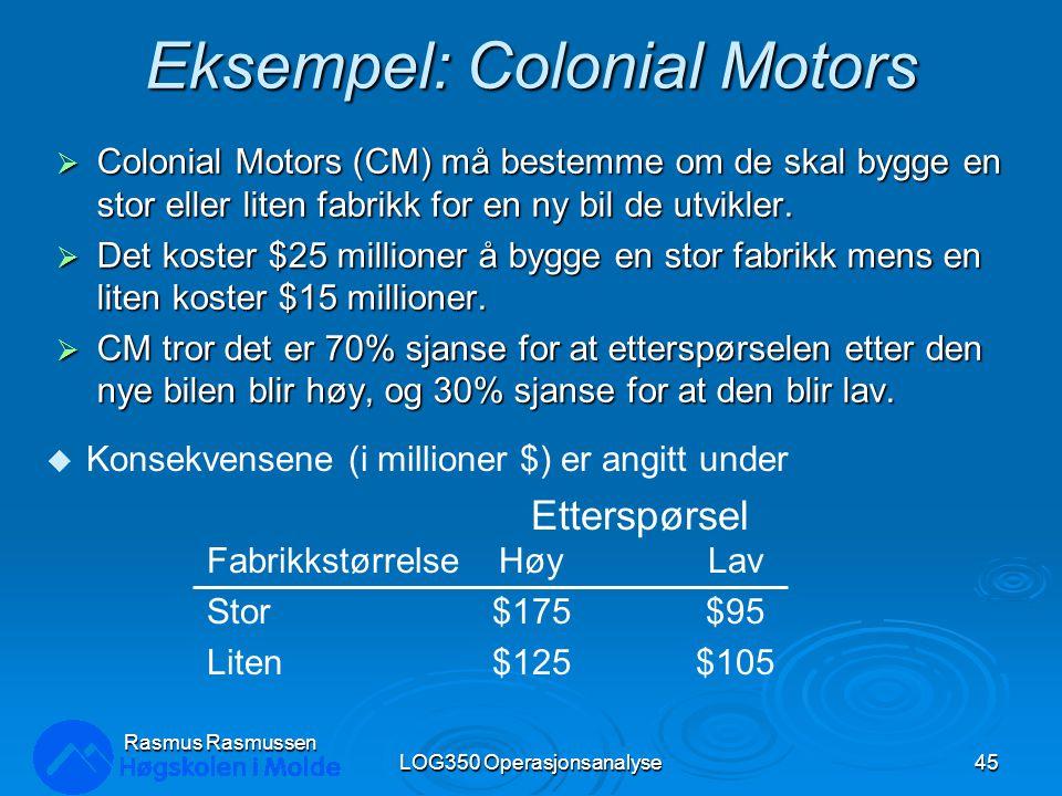 Eksempel: Colonial Motors  Colonial Motors (CM) må bestemme om de skal bygge en stor eller liten fabrikk for en ny bil de utvikler.  Det koster $25