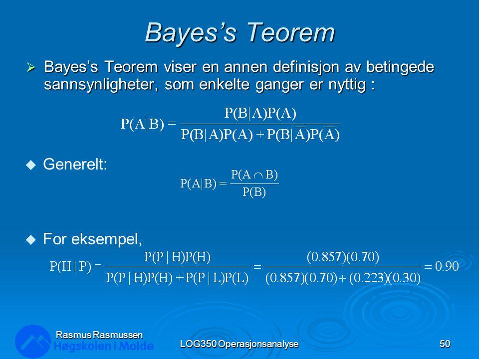 Bayes's Teorem  Bayes's Teorem viser en annen definisjon av betingede sannsynligheter, som enkelte ganger er nyttig : LOG350 Operasjonsanalyse50 Rasm