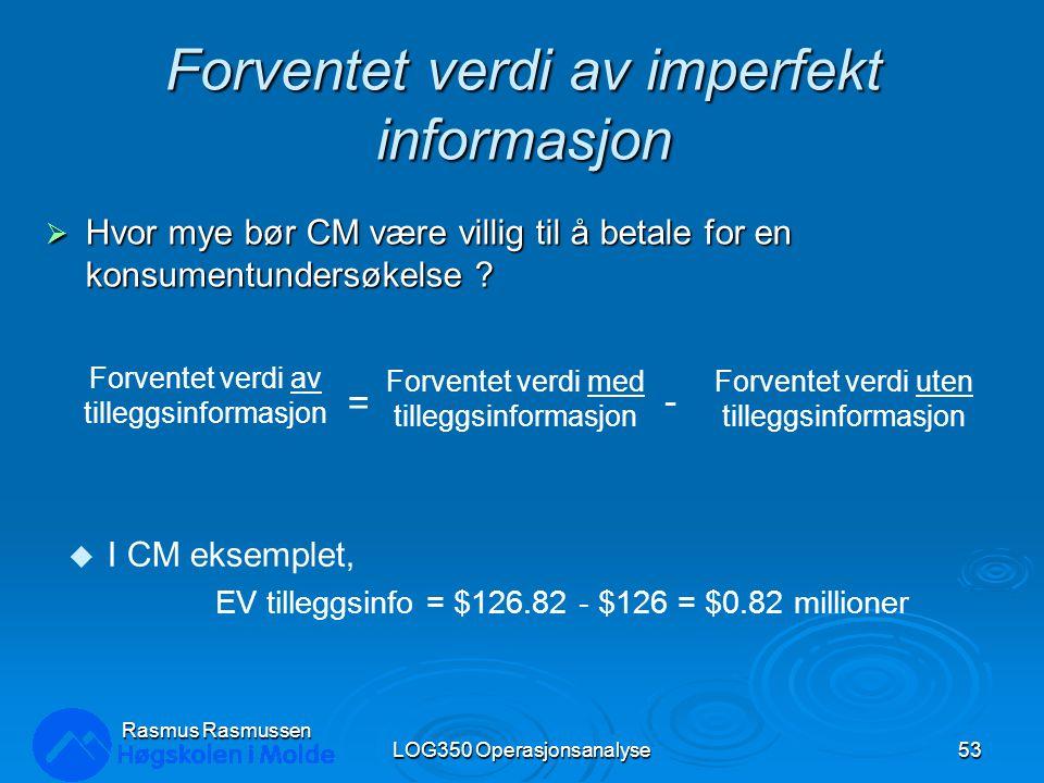 Forventet verdi av imperfekt informasjon  Hvor mye bør CM være villig til å betale for en konsumentundersøkelse ? LOG350 Operasjonsanalyse53 Rasmus R