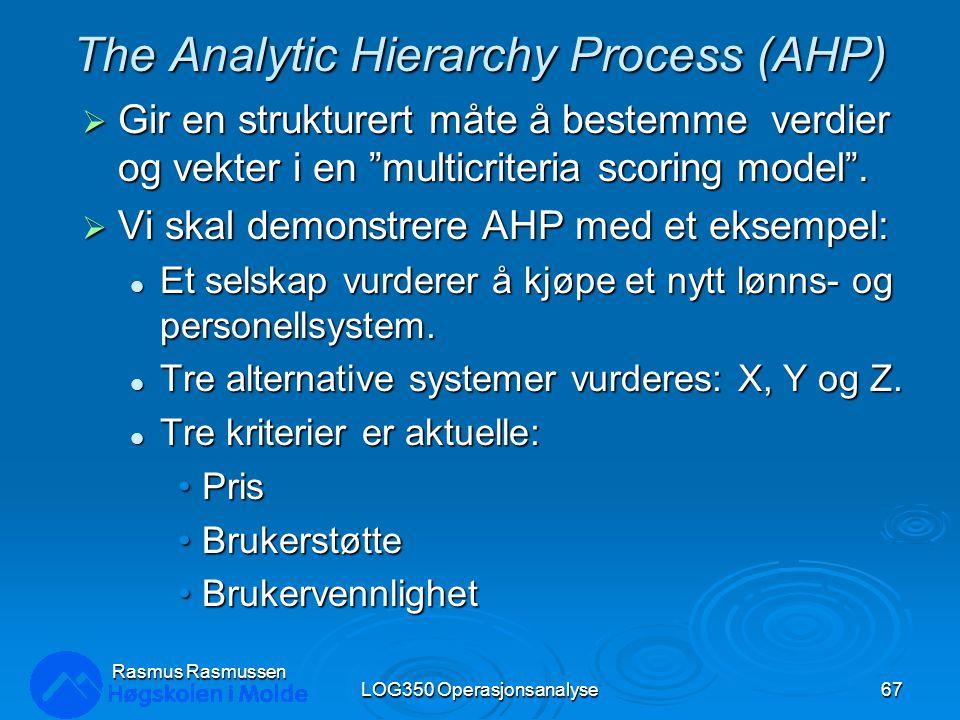 """The Analytic Hierarchy Process (AHP)  Gir en strukturert måte å bestemme verdier og vekter i en """"multicriteria scoring model"""".  Vi skal demonstrere"""