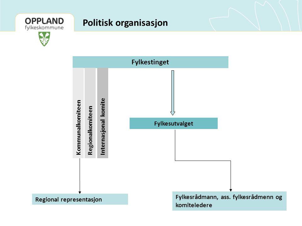 Politisk organisasjon Fylkestinget Fylkesutvalget KommunalkomiteenRegionalkomiteenInternasjonal komite Fylkesrådmann, ass.