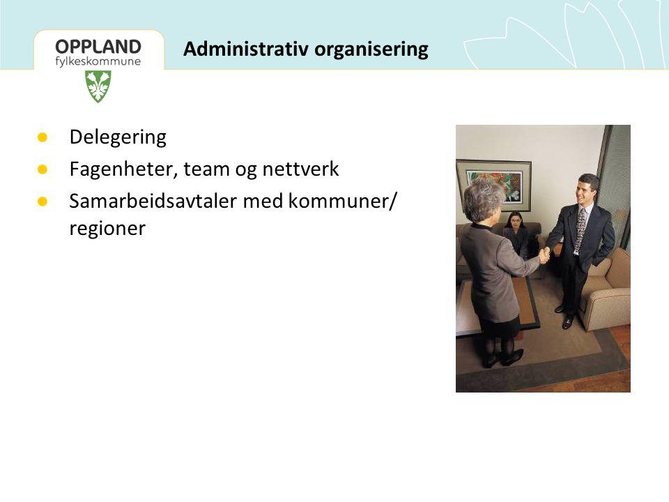 Administrativ organisering ● Delegering ● Fagenheter, team og nettverk ● Samarbeidsavtaler med kommuner/ regioner