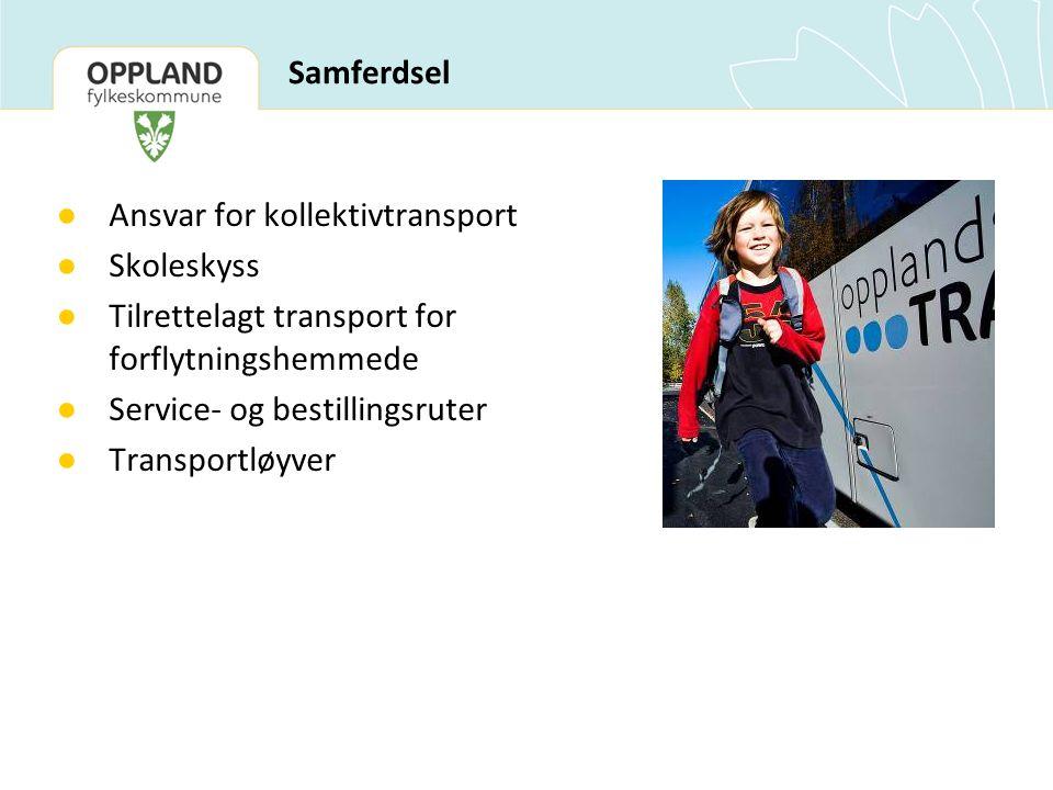 Samferdsel ● Ansvar for kollektivtransport ● Skoleskyss ● Tilrettelagt transport for forflytningshemmede ● Service- og bestillingsruter ● Transportløyver