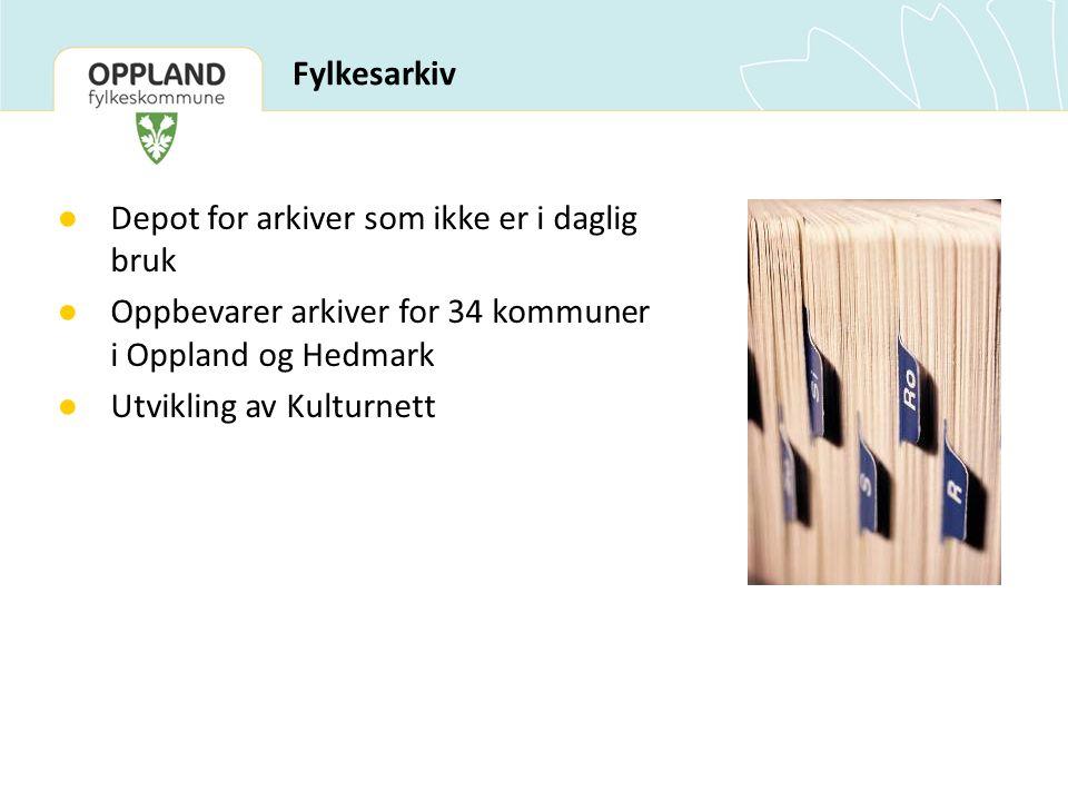 Fylkesarkiv ● Depot for arkiver som ikke er i daglig bruk ● Oppbevarer arkiver for 34 kommuner i Oppland og Hedmark ● Utvikling av Kulturnett