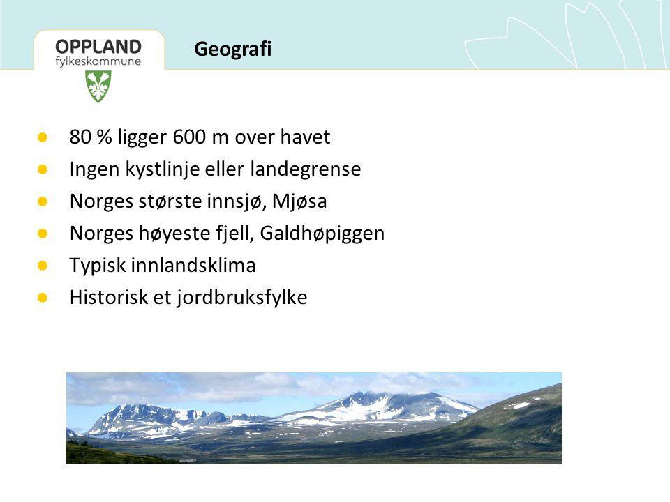 ● 80 % ligger 600 m over havet ● Ingen kystlinje eller landegrense ● Norges største innsjø, Mjøsa ● Norges høyeste fjell, Galdhøpiggen ● Typisk innlandsklima ● Historisk et jordbruksfylke Geografi