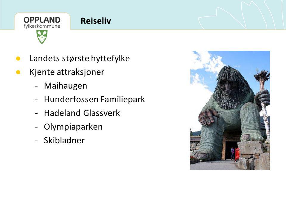 ● Landets største hyttefylke ● Kjente attraksjoner -Maihaugen -Hunderfossen Familiepark -Hadeland Glassverk -Olympiaparken -Skibladner Reiseliv