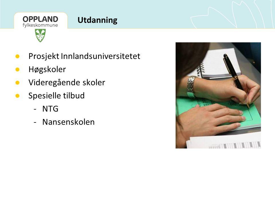 ● Prosjekt Innlandsuniversitetet ● Høgskoler ● Videregående skoler ● Spesielle tilbud -NTG -Nansenskolen Utdanning