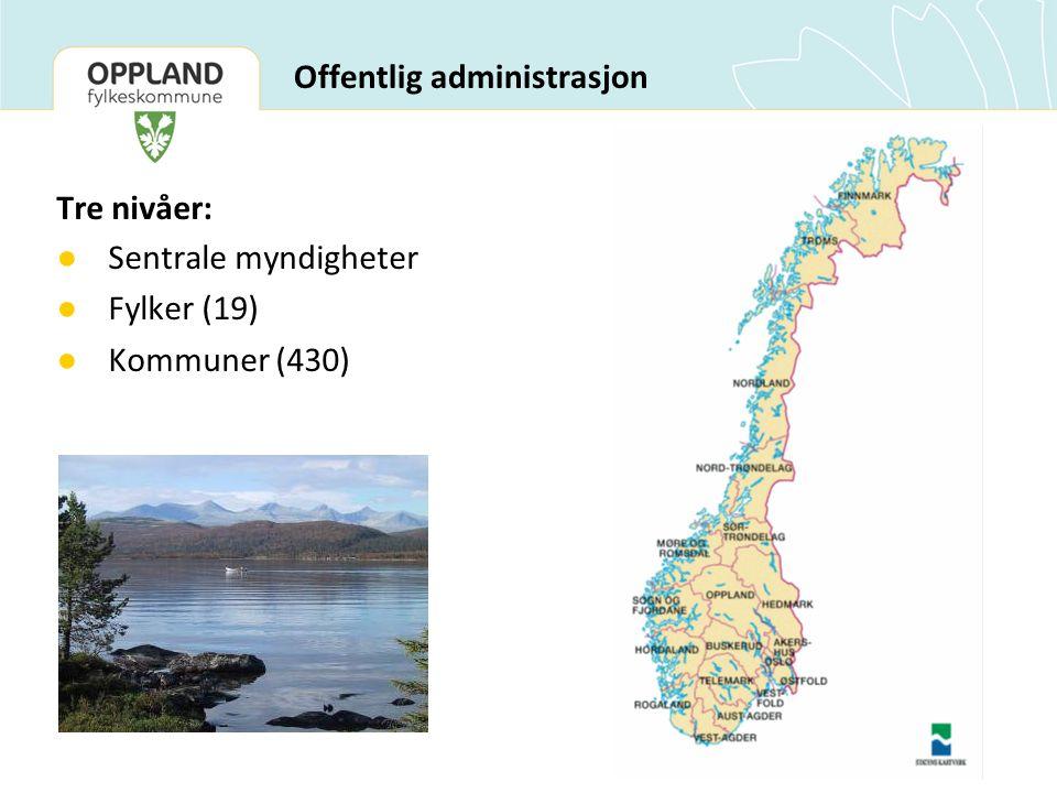 Offentlig administrasjon Tre nivåer: ● Sentrale myndigheter ● Fylker (19) ● Kommuner (430)