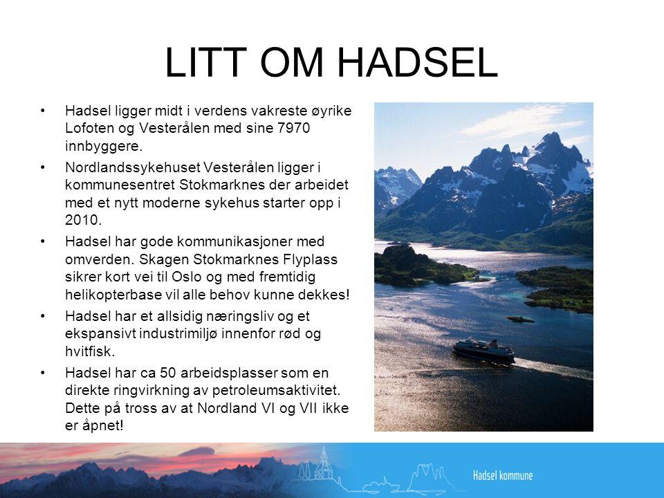 LITT OM HADSEL •Hadsel ligger midt i verdens vakreste øyrike Lofoten og Vesterålen med sine 7970 innbyggere.